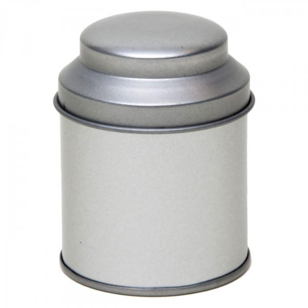 Teedose rund silber Ø53 x 70 mm mit gewölbtem Deckel