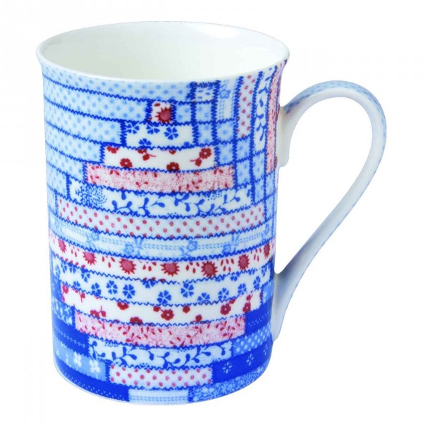 Bone China Becher Quilt blue red Ø 8 x 10,5 mm