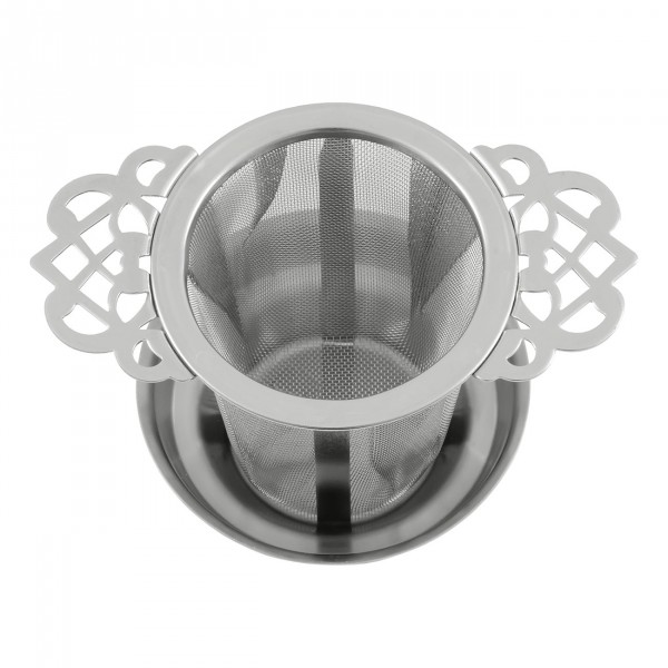 "Metal tea strainer ""Ornament"" with drainer"
