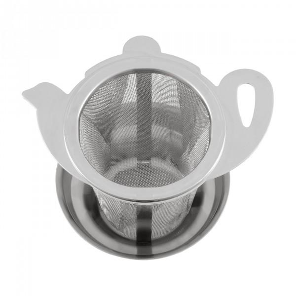 """Metallteesieb """"Teekanne"""" mit Abtropfschale"""