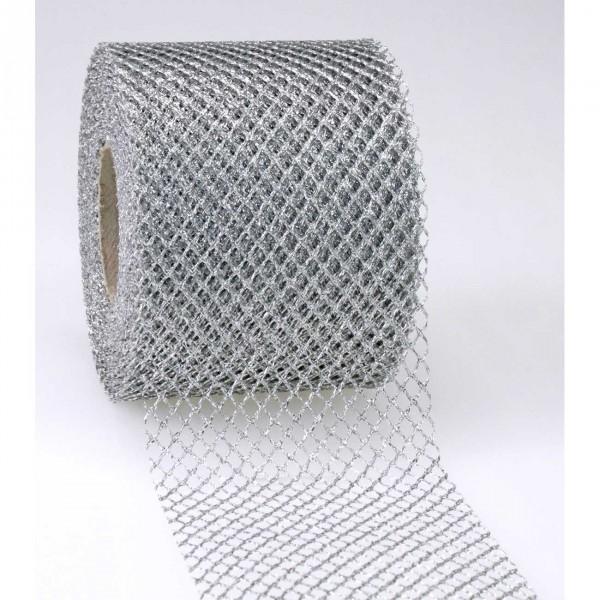 Schleifenband Tüll silber Siena 72mm