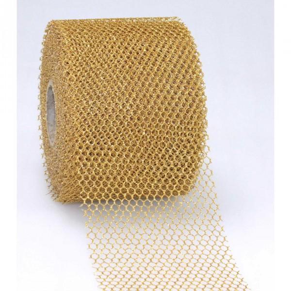 Schleifenband Tüll gold Siena 72mm